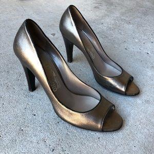 Salvatore Ferragamo Grey Metallic Peep Toe Heels 9